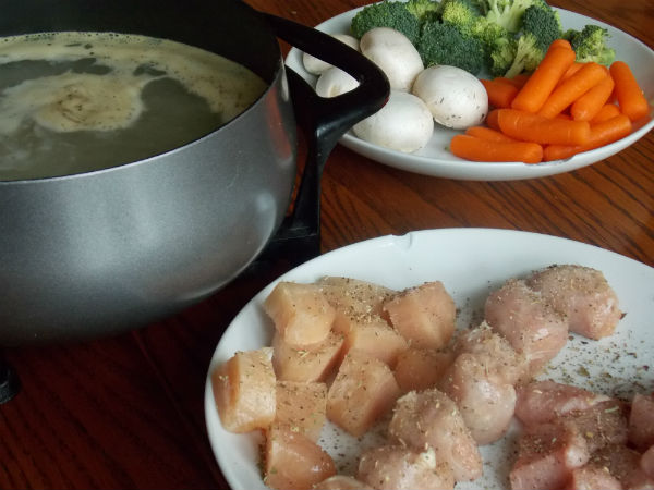 fondue meat and veg