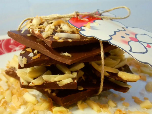 Dark Chocolate Holiday Bark – Sea Salt, Toasted Coconut, & Almond