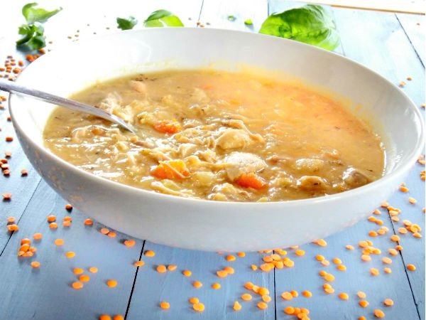Chicken and Red Lentil Soup Close up