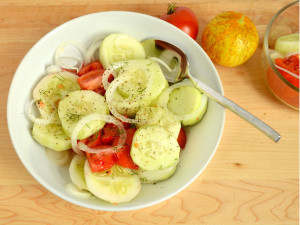 Garden Cucumber Salad with fresh picked cucumbers and tomatoes