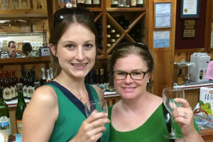 Sara and Jessica Wine Tasting