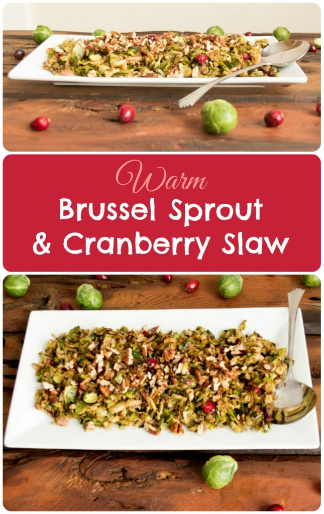 Brussel Sprout Slaw with Cranberries and Pecans