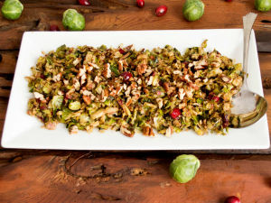 Warm Brussel Sprout and Cranberry Slaw