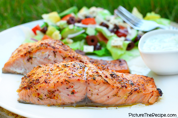 Greek Marinated Salmon- PictureTheRecipe