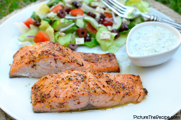 Greek Marinated Salmon by PictureTheRecipe