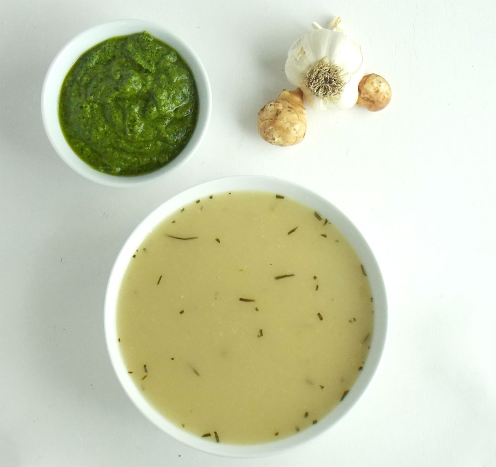 Sunchoke Soup with Pesto