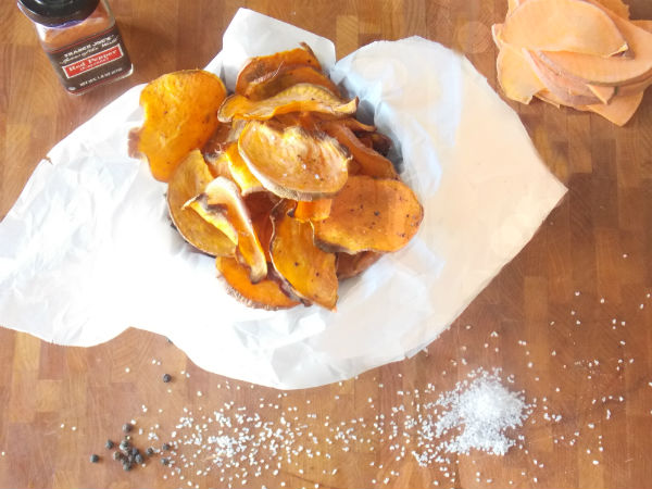 Sweet Potato Chips Spicy! Yumy! I love My Clean Kitchen!!!