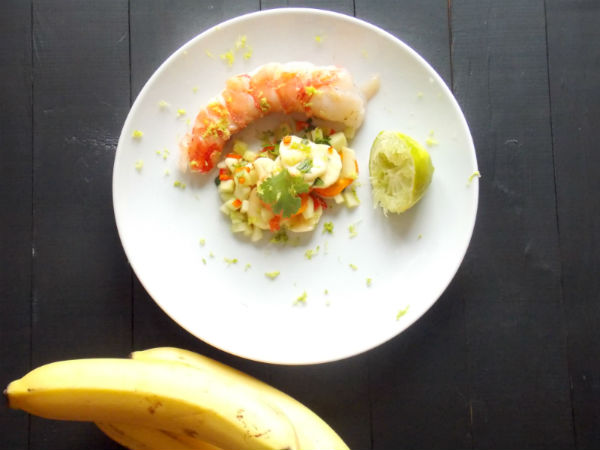 Pranwn with Banana Salsa YUM!!
