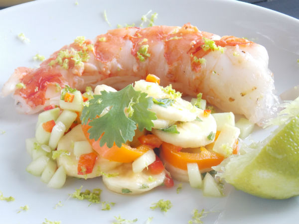 Prawn with Banana Salsa