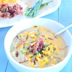 Loaded No Potato Soup with garnish SO Yummy and Healthy