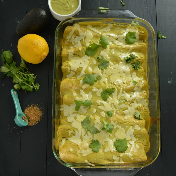 Creamy Avocado Chicken Enchiladas - Clean and Yummy!