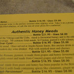 Honey Meads menu