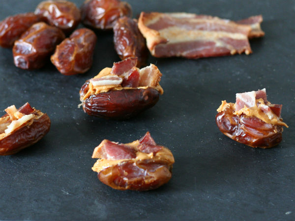 Peanut Butter Bacon Stuffed Dates Yum!